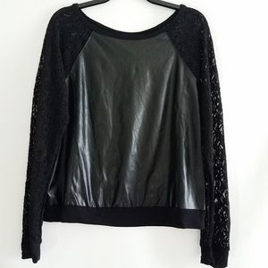 Bisou Bisou Long Sleeve Black Faux Leather Top